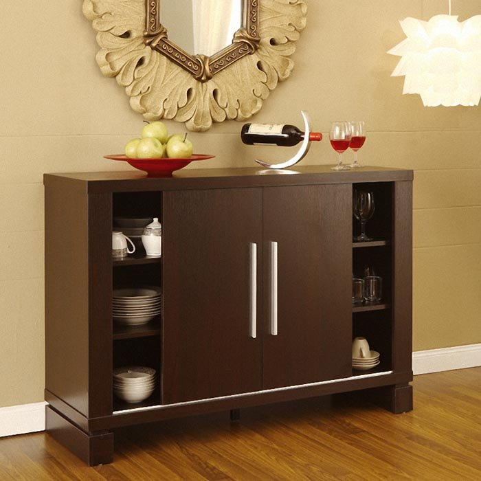 Storage Cabinet With Open Shelves Dishware Collection A Pair Of Wine Gles Bottle Dining Room