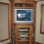 TV cabinet with shelves as corner entertainment center idea