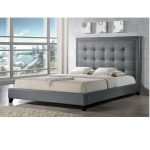Tall headboard in grey color for modern bedroom grey shag bedroom rug