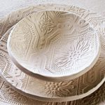 Textured plates and bowl for dinner