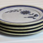 The series of flat plates with blue flower decoration