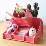 Unique pink office supplies box for storing pens erasers staplers