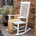 White stain wood rocking chair for front porch