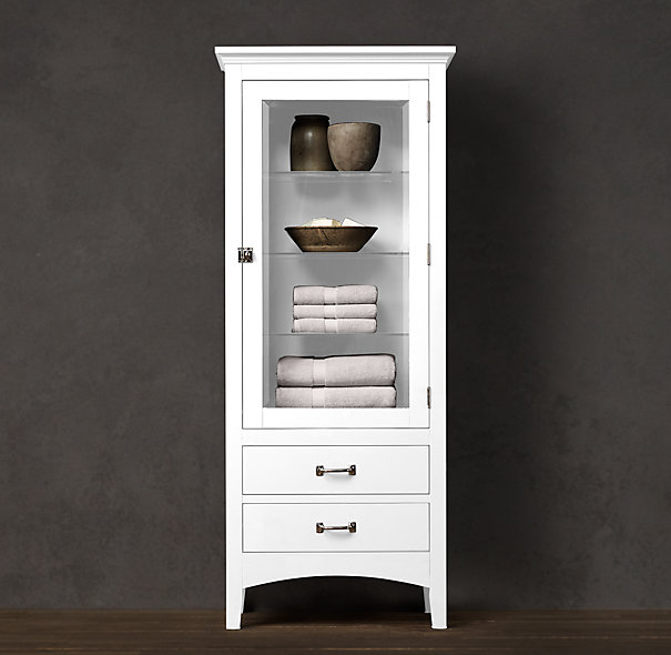 White Tall Media Cabinet With Transparent Glass Door And Drawers