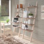 Wood Leaning Ladder Desk And Chair Decorative Wall Grey Shader Modern Rug On Hardwood Floor