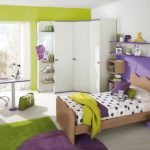 Wooden bed with polka dots bedding floating wood bookcases and racks wooden bedside table green bedroom rug round purple bedroom rug purple work desk with white chair