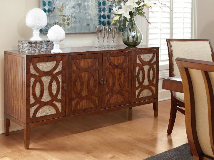 Wooden Dining Room Cabinet System In Clic Style Beautiful Ornaments On Top Of Cool