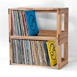Wooden shelving unit for storing record collections