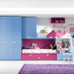 adorable blue bunk bed for small space idea with pink and purple accent with purple floor lamp and stairs and white wall