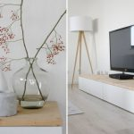 adorable ikea white tv stand design with potted cherry blossom and white ceramic and black acceta dn tripod floor lamp