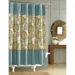 Adorable Nicole Miller Home Decor For Bathroom With Floral Patterned Blue Curtain For Freestanding White Tub And Sun Wall Mirror And Wooden Vanity