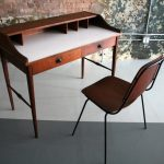 adorable open plan office idea with mid century secretary desk design with white top in slim moderl with brown chair on concrete floor
