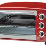 adorable red toaster oven design with transparent door and three knobs and black legs