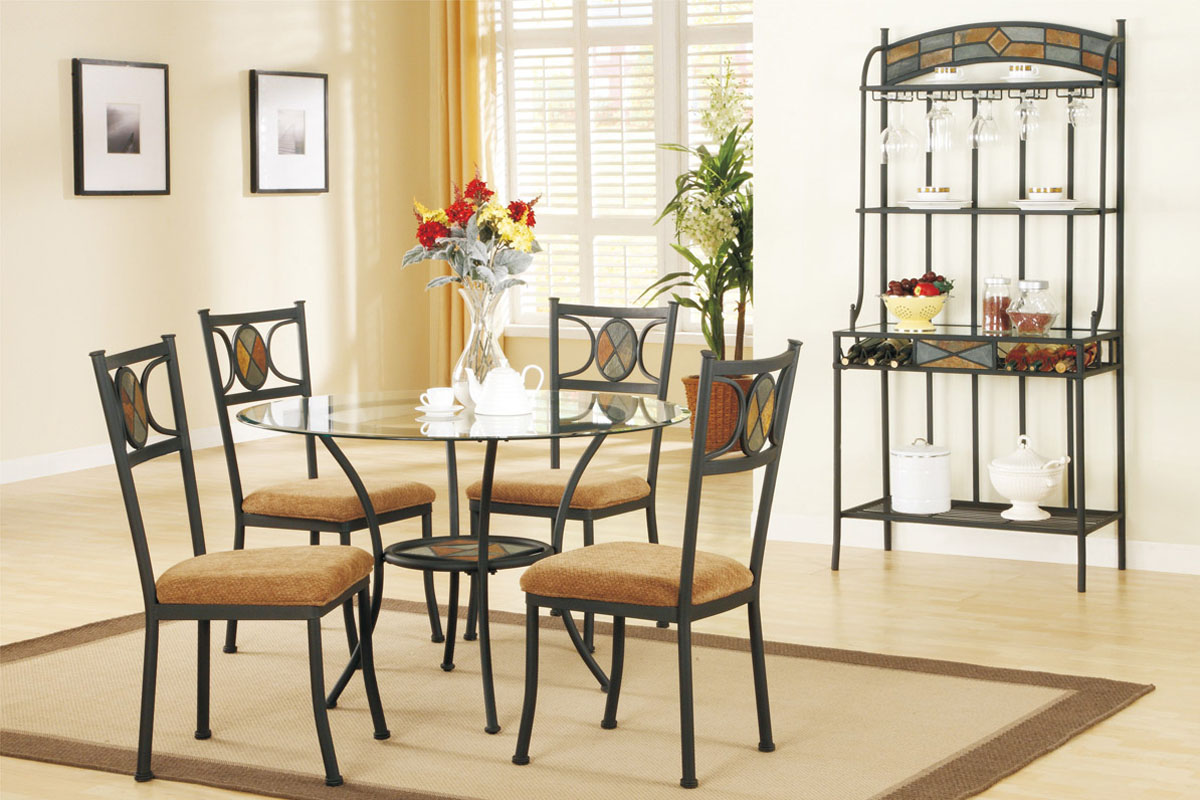 Adorable Vintage Cream Dining Room Idea With Metal Chairs And Gl Round Kitchen Table Set For