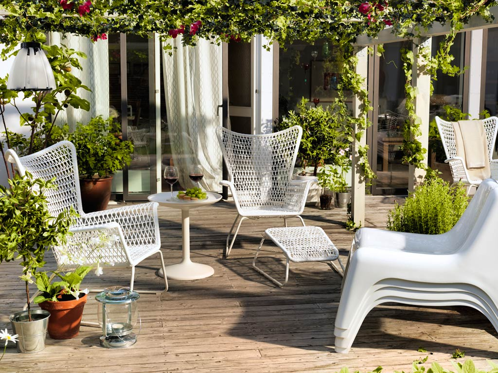 Adorable Vintage Ikea Lawn Furniture Design With Wire Net Chairs And Round White Table Beneath Pergola
