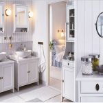 adorable vintage white ikea bath cabinet design with twin wall mirror and bowl sink and wainscotting wall and white runner rug
