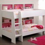 adorable white pink bunk bed for small space design in soft pink and vibrant pink combination with stairs