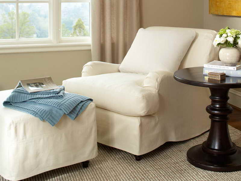 white sofa cover with wooden table | Pottery Barn Sofa Slipcover – Best Solution for Daily ...