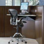Aeron Chair Standing Desk Wood Monitor
