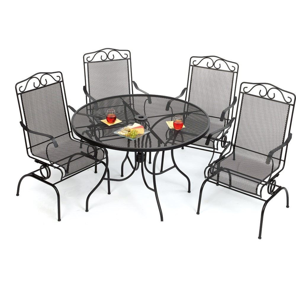 Amazing Target Patio Chairs In Wrough Iron Frame Plus Round Coffee Table For More Comfortable