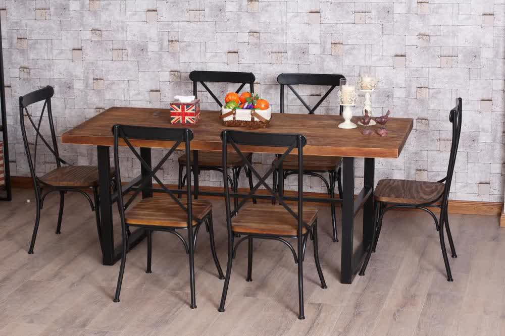 Attractive Wrought Iron Kitchen Table In Rectangular Shape With Wood Top And Traditional Style Of Chair