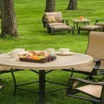 awesome green outdoor living space with creamy unique sleeper chairs with round table and black metal frame and recliner sofa in cream tone for best aptio furniture brands