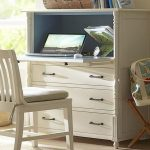 awesome white mid century secretary desk design with drawers and white chair and bolster and bag table in dull white interior