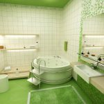 bathroom mirror sink carpet toilet tile green