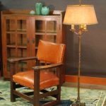 beautiful antique Mission style floor lamps with polychrome wooden chair and cabinets