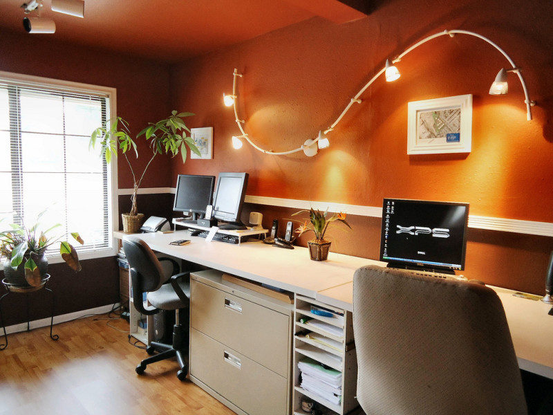 Beautiful Curve Wall Mounted Track Ligthing For Office Room Airy Clean Oofice Wooden Floor Decorative
