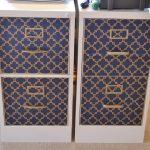 beautiful elegant decorative file cabinets wih blue golden walpaper