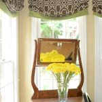 beautiful etnic brown green small outside mount roman shades with side wooden table and beautiful yellow fresh flower