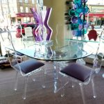 beautiful modern glass small oval dining table with padded glass chairs beautiful colorful glass decoration