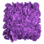beautiful purple accent pillow design with lovely curly sleeve decoration