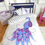 beautiful white blue purple peacock organic cotton bed sheets colorful kids bedroom silver table clock