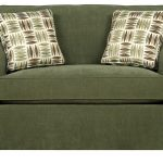 Beautifully Peaceful Green Twin Size Sleeper Sofa With Motive Cushions