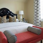 bed benche pillows lamp curtain