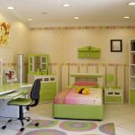bed pillow doll cabinet table chair rug lamps wallpaper