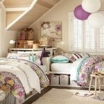 bedroom girl pillows beds table shader lamp rug