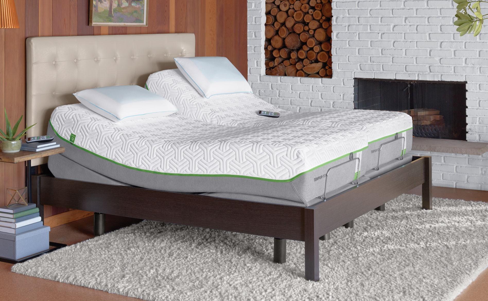 Bedroom With White Gray Tempurpedic Adjule Base Design Creamy Tufted Headboard And Furry Rug