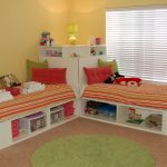 beds twins pillows desk cabinet dolls lamp windows toys rug