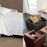 beige and black Vincent Twin Sleeper from CB2 for modern living room or office room