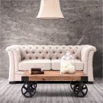 Best Nicole Miller Home Decor With Chesterfield Sofa In Cream Tone With Vintage Wooden Coffe Table With Wheels And Wooden Floor And Dried Gray Paint Wall