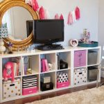 bins storage boxes mirror television rug lamp