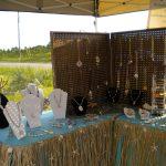 black framed pegboard jewelry display beautiful stone jewelries