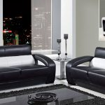 black modern sofas rug table lamp
