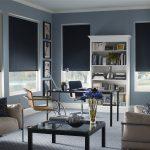 Black Roller Shades Blackout Blinds Modern Black Grey Office Room Stainless Steel Chair Frames Wooden Glass Top Table Decorative Blue Flower Wooden Bookshelf Grey Floor