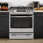 black silver 30 gas cooktop with downdraft modern black wooden kitchen furniture bread tomato accents