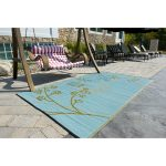 blue tree motive b.b. Begiona recycled plastic outdoor rugs red white stripped swings lounge swimming pool deck swimming pool furniture tile floor