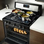 bold black 30 gas cooktop with downdraft wooden kitchen furniture simple white kitchen surface